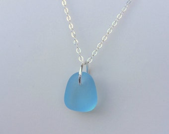 Aqua Sea Glass Silver Necklace