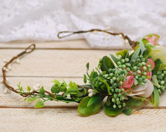 Green and pink flower crown Flower crown Floral crown Woodland wedding Woodland wedding hair Wedding halo Bridal headband Weding Crown Boho