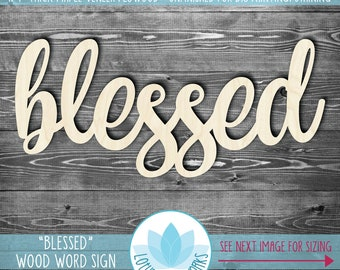 Blessed, Large Wood Word Sign, Wooden Word Wall Decor, Blessed Wood Words, Gallery Wall Word Art, Wood Word Signs, Unfinished Wood