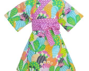 Kimono Dress CACTUS BLOOM Yukata Modern Kimono Girls Baby Toddler Japanese