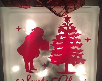 Santa Claus with Christmas Tree Lighted Glass Block-Handmade