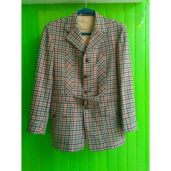 Rare Vintage 1950s English Wool Check Hunting Hacking Jacket Belted Mint Filson Ralph Lauren LL Bean