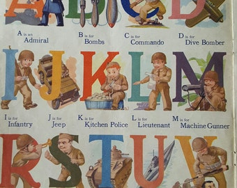 Rescued Pages From An Alphabet Book Military and Flowers Alphabets