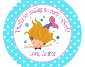 MERMAID FAVOR TAGS or Stickers/ Personalized Printable Digital File/ 2.5 Inch Party Circles/ Ready Made Tags and Matching Items Available