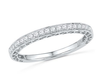 Womens Diamond Wedding Band in White Gold or Sterling Silver, Eternity Band