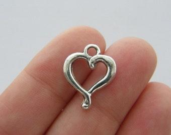 BULK 50 Heart charms antique silver tone H149