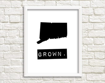 Connecticut prints, custom map art, Connecticut signs, black and white wall art, state signs, Connecticut decor, Connecticut gifts state art