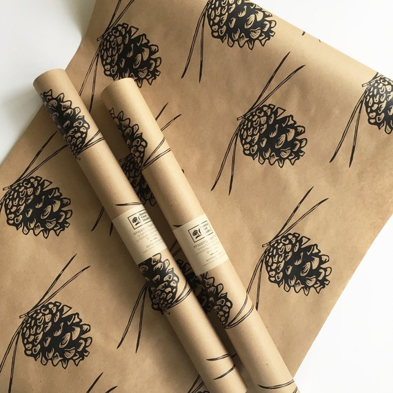 Wrapping Paper   Pine Cone Gift Wrap As Seen In Country Living Magazine,  Black Wrapping Paper, 9 Ft, Paper Table Runner, Kraft Paper From  BonnieKayeStudio ...