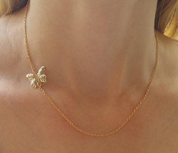 Dainty butterfly necklace charm necklace gold pendant mozeypictures Images