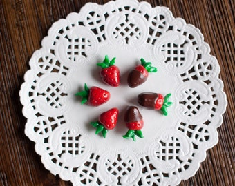 """AG Doll Food - Strawberries (3) & Chocolate Covered Strawberries (3) for 18"""" Dolls, American Girl Doll, Miniature Food, Polymer Clay Food"""