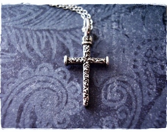 Silver Nail Cross Necklace - Sterling Silver Nail Cross Charm on a Delicate Sterling Silver Cable Chain or Charm Only