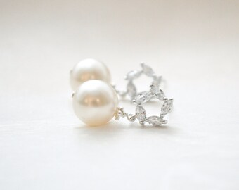 Pearl Earrings Dangle, Wedding Earrings for Brides, Wedding Jewelry for Brides