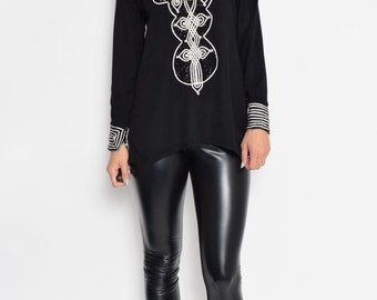 Vintage  Embellished Long Sleeve Tunic Blouse Top
