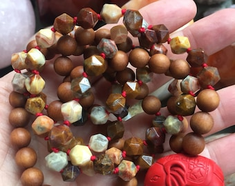 Sandalwood, Starcut Crazy Lace + Elephant Mala | 108 Beads | Partially Handknotted | 8 mm | Spiritual Junkies | Yoga + Meditation