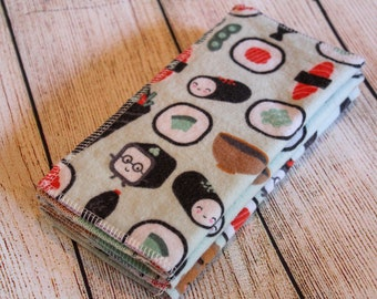 Sushi cloth wipes set of 6