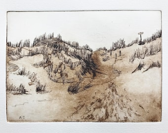 original etching and aquatint of sand dunes at the beach