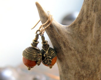 Acorn Earrings with Redwood Beads and Antiqued Brass Bead Caps