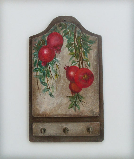 POMEGRANATES - Wooden Key Holder