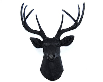 Faux Taxidermy - Matte Black Faux Deer Head - Deer Head Antlers Fake Taxidermy Wall Mount D1717