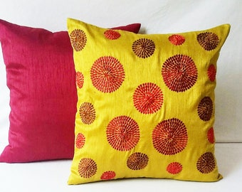 Saffron yellow pillow, decorative embroidered   cushion cover. Yelow  throw pillow cover  retro circle pillow, sofa cushion, bedroom decor