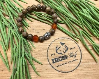 Bead Stretch Bracelet Kids(Small) - Wood, Orange and Buddha