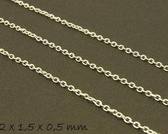 Chain silver, fine, 2 x 1.5 mm
