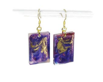 Oblong Resin Swirl Earrings