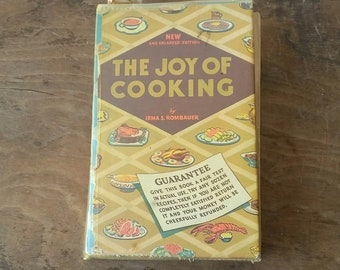 Vintage Cookbook The Joy of Cooking 1946 Hardcover Edition w Assorted Advertising Clippings & Handwritten Recipes Classic Cook Book Rombauer