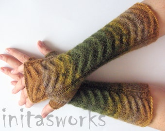 Fingerless Gloves Green Moss Beige Brown wrist warmers