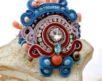 aquamarine statement crystal gemstone cuff , bead embroidered haute couture statement bracelet , coral pearls aquamarine soutache bracelet