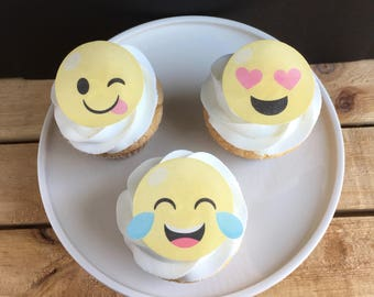 Emoji Cupcake Toppers, Thin Edible Paper Cupcake Topper, Flat printed Wafer Paper, Food Safe, Read Item Details