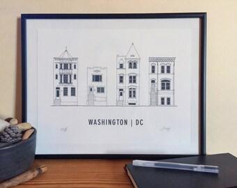 Row Houses of Washington D.C. Architectural Screen Print