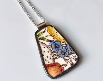 Broken China Jewelry Pendant - Red Blue and Yellow Floral