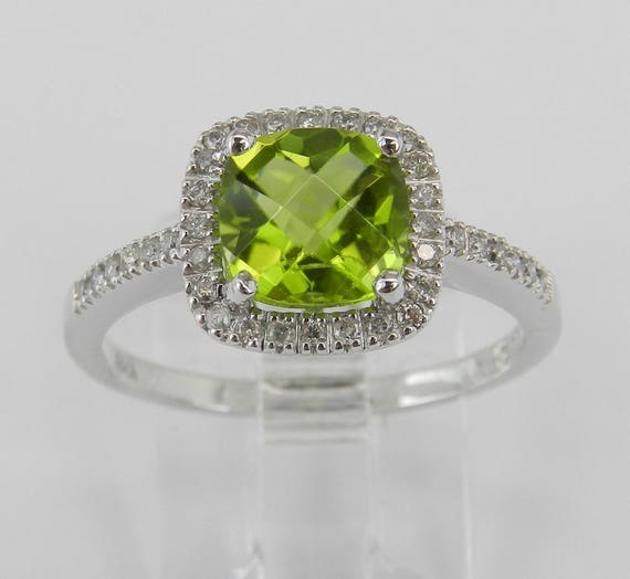 Cushion Cut Peridot and Diamond Halo Engagement Ring White Gold Size 7.25 August Gem