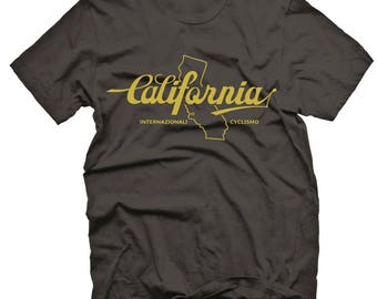"Mens Cycle T-Shirt ""California""  by Endurance Conspiracy - Heather Black Blend, Jersey Crew Neck"