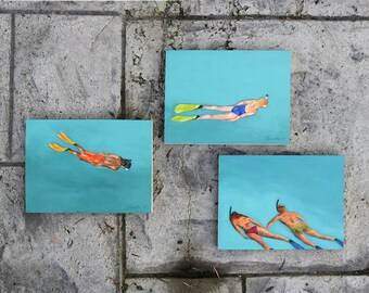 """Triptych Set of three original 6x8"""" oil paintings by Daina Scarola - Floating (snorkeling, ocean art, turquoise water, vacation, friends)"""
