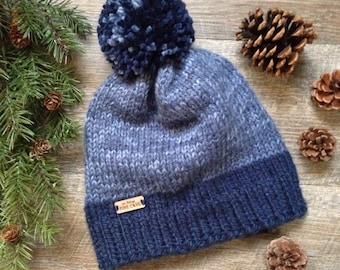 "Women's Knit Beanie ~ Men's Winter Knit Hat with Pom Pom ~ Woodland - Rustic Knitted Hat  ""THE DALTON"" in Navy Blue and Denim Blue"
