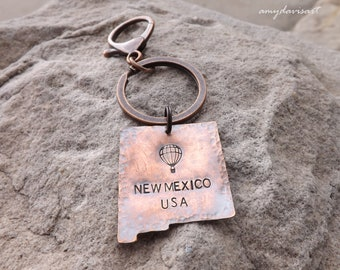 New Mexico USA Keychain, Copper Keychain, Travelers Gift, Hand Stamped Copper Gift, State Key Ring, Southwestern Accessory, Graduation Gift