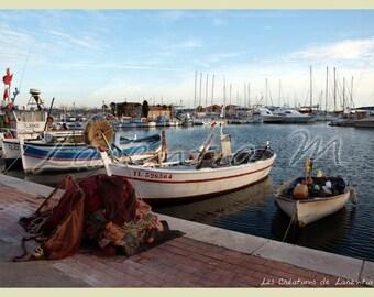 Photo 30X40cm Bandol Port side fishing boats