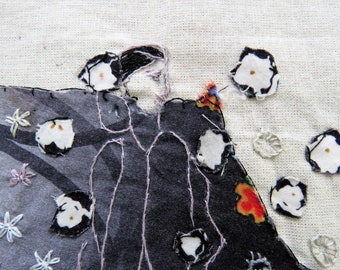 Black and white mini Quilt , hand embroidery, mixed media, wall hanging, home decor, unique embroidery art, abstract art
