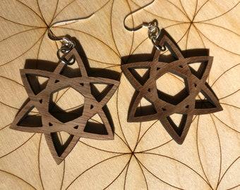 Celtic Star Wooden Earrings - Walnut Wood - Sacred Geometry - Wood Cut Earrings - Sterling Silver