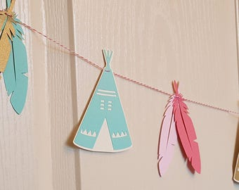 Teepee banner, teepee garland, Feather Garland, wild one, Boho Birthday Banner, Bohemian Party, Tribal Birthday Party, Dreamcatcher Banner