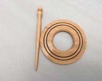 Shawl ring and pin set, shawl pin, wooden, birch, handmade, hand turned