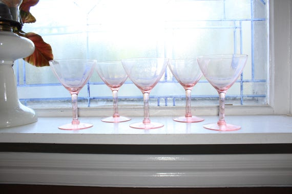 5 Pink Depression Glass Wine Glasses 1930s Art Deco