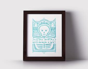Glow Skeleton Halloween Monster Poster