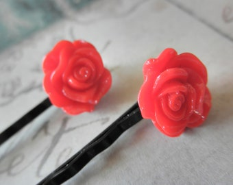 Dark Red Rose Bobby Pins CLEARANCE 50% OFF