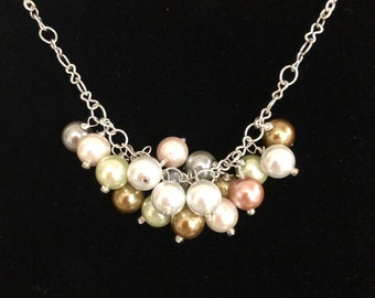 Clustered pearls on silver chain- 22 in