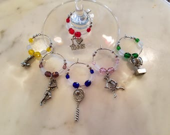 Tennis Wine Charms set 6 v3