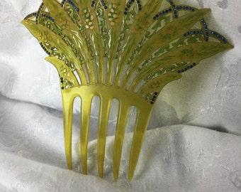 Antique Hair Comb Art Deco Victorian Celluloid Rhinestone Open Work