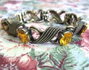Vintage 1960s Bracelet Gold Tone Topaz Rhinestone Jewelcraft Bracelet